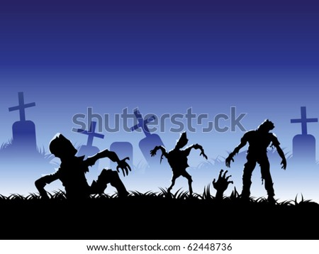 creepy zombie - stock vector