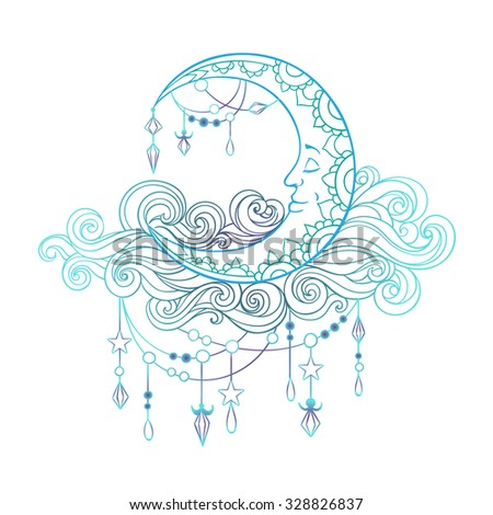 Crescent in patterned fleecy clouds with pendants, crystals and stars - stock vector