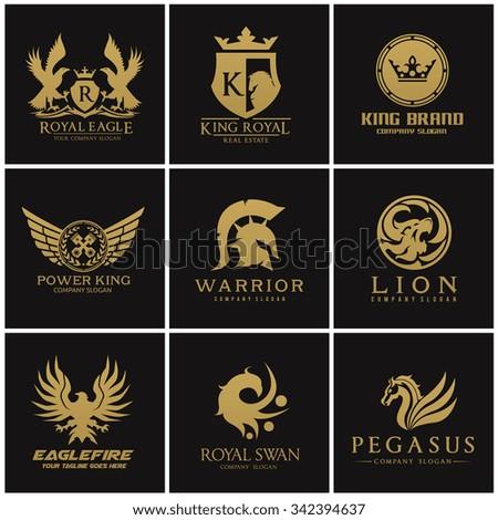 Crest logo collection,logo set,logo collection,Automotive logo,Eagle logo,warrior logo,Pegasus logo,lion logo,king and royal logo,crown logo,Gold logo,Vector logo template. - stock vector