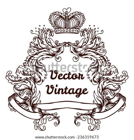 crest with vintage style design elements, use for logo, frame, vector format very easy to edit, individual objects  - stock vector