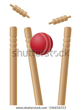 cricet wickets and ball vector illustration isolated on white background - stock vector