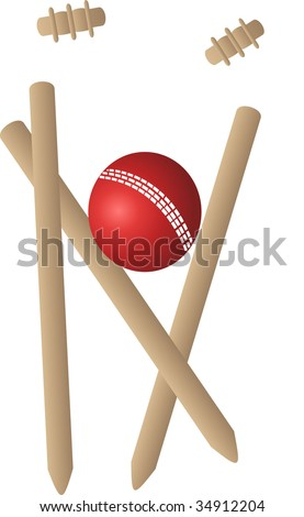 cricket ball and wickets - stock vector