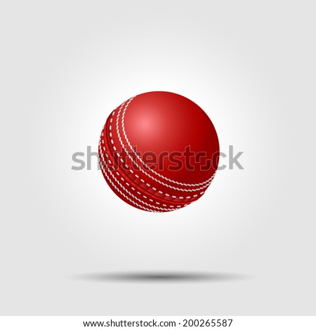 Cricket ball on white background with shadow - stock vector