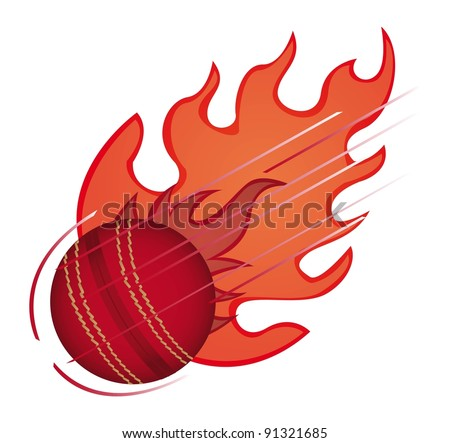 cricket ball with fire isolated over white background. vector - stock vector