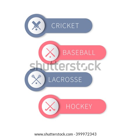 Cricket, baseball, lacrosse, field hockey, team sports labels and banners isolated on white, vector illustration - stock vector