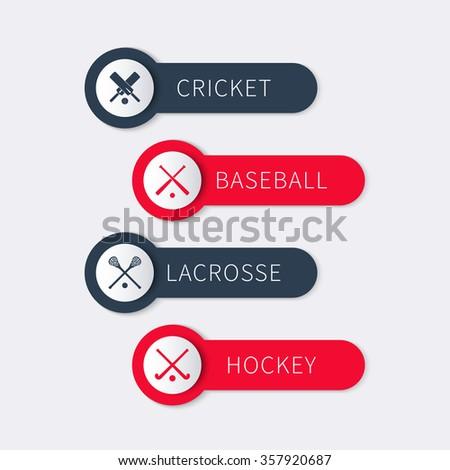 Cricket, baseball, lacrosse, field hockey, team sports labels, banners, vector illustration - stock vector