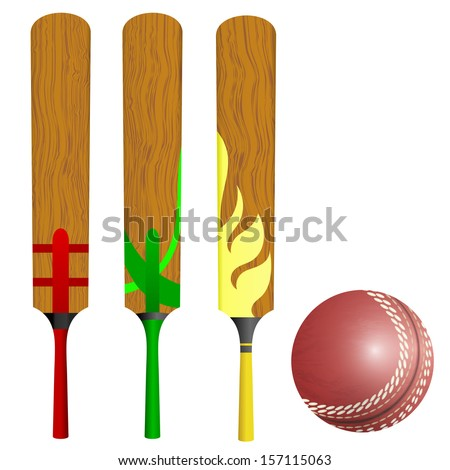 Cricket bats and ball - stock vector