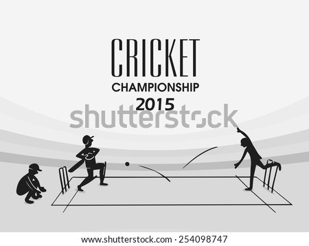 Cricket Championship 2015 with black and white illustration of players in playing action on stadium. - stock vector