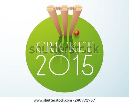 Cricket 2015 concept with red ball and wicket stumps on green background. - stock vector