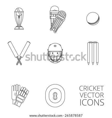 Cricket equipment icons set with keeping gloves and winner trophy sketch abstract black outlined isolated vector illustration - stock vector