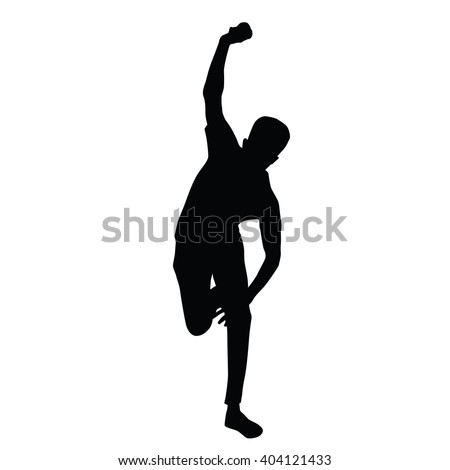Cricket player vector silhouette - stock vector