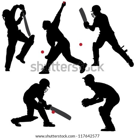 Cricket Sport Silhouette on white background - stock vector