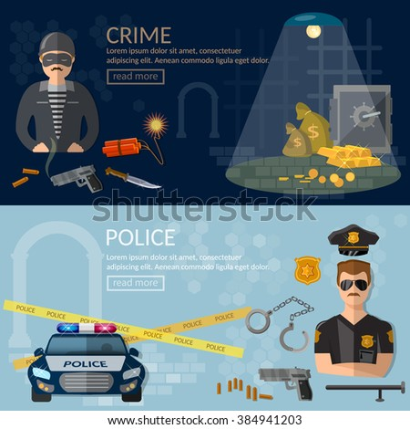 Crime and Punishment banners security system thief and policeman vector illustration - stock vector