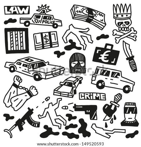 Crime - doodles - stock vector