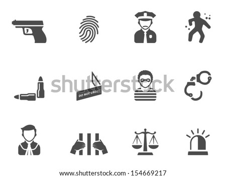 Crime icons in black & white - stock vector