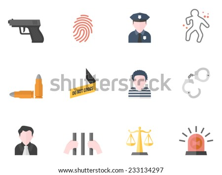 Crime icons in flat colors style.  - stock vector