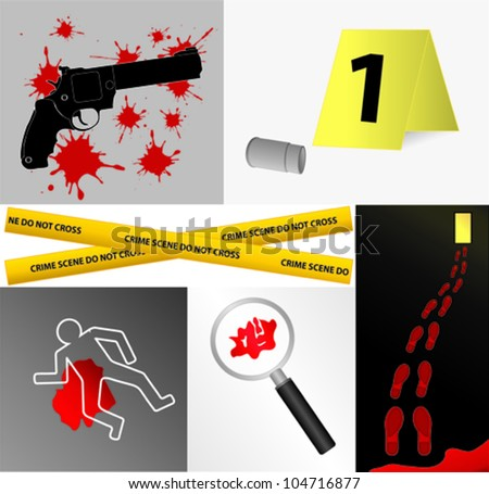 Crime scene icons vector - stock vector