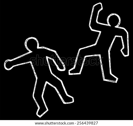 Crime scene illustration. Doodle style - stock vector