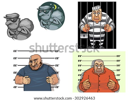 Criminal cartoon characters with thief in mask and sack, robber, gangster makes a prisoner photo against height chart and prisoner in jail behind bars - stock vector