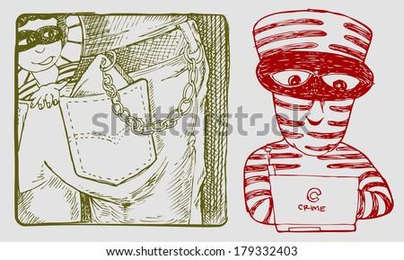 criminal illustration - stock vector