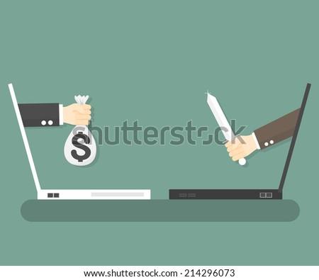 criminal internet. idea concept vector illustration - stock vector