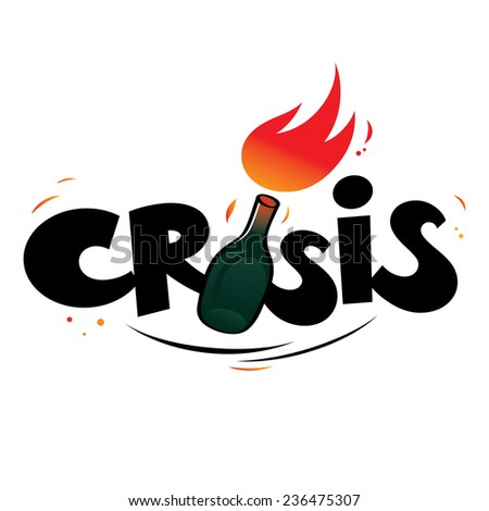 Crisis - Molotov cocktail as symbol of protest - stock vector
