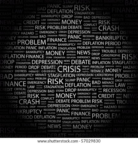 CRISIS. Word collage on black background. Illustration with different association terms. - stock vector