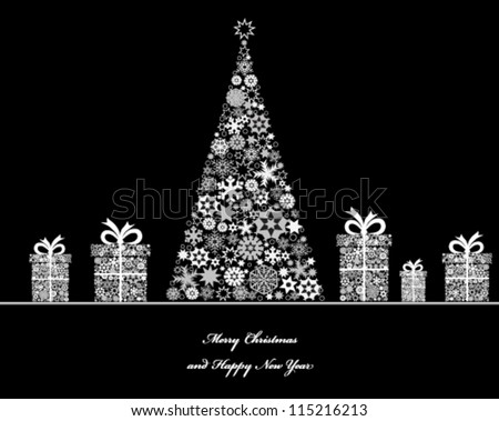 Crisrmas tree with cristmas gift boxes from snowflakes. Vector - stock vector