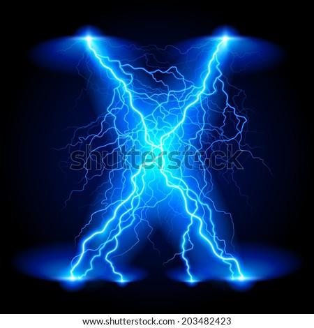 Criss-cross lines of branchy bright blue lightning. - stock vector
