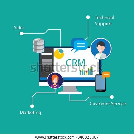 crm customer relationship management - stock vector