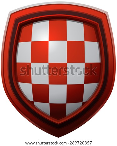 Croatia Coat of Arms Pattern on a Red Framed Glossy Shield, Vector Illustration isolated on White Background.  - stock vector