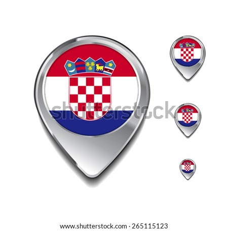 Croatia flag map pointer. 3d Map Pointer with flag glossy button style on gray background - stock vector