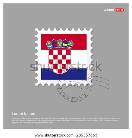 Croatia Flag Postage Stamp on white background. Vector illustration. - stock vector