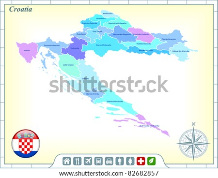 Croatia Map with Flag Buttons and Assistance & Activates Icons Original Illustration - stock vector