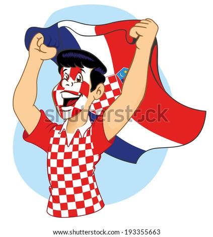 Croatian supporter vibrating  - stock vector