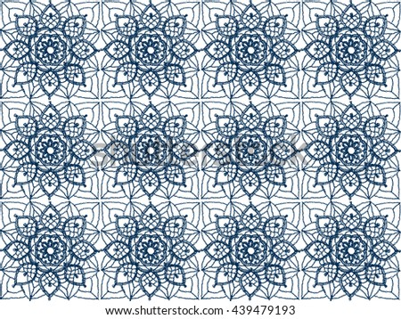 Crochet lace of square elements with blue snowflakes and flowers, lace vector background. - stock vector