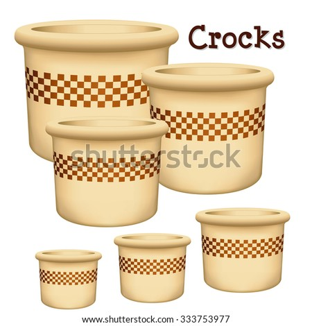 Crocks with check design. Collection of earthenware garden planters in small, medium and large with check design trim isolated on a white background. EPS8 compatible.  - stock vector