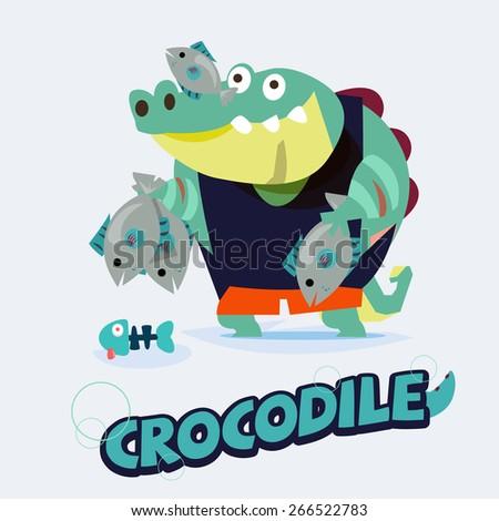 crocodile character holding fish. cartoon animals concept - vector illustration - stock vector