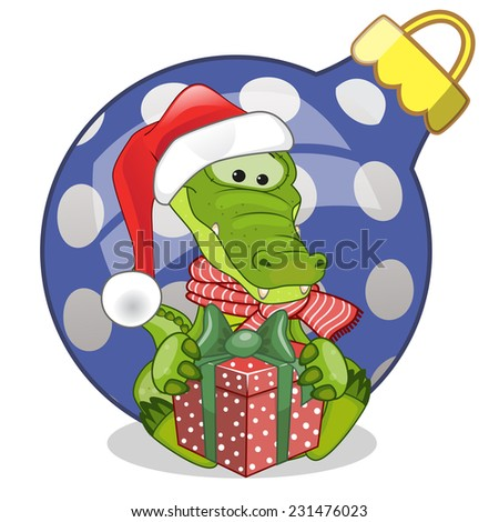 Crocodile in a Santa hat with gift  - stock vector