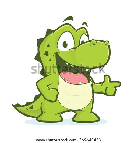 Crocodile or alligator pointing - stock vector