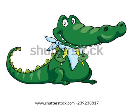 crocodile ready for lunch vector illustration on a white background - stock vector
