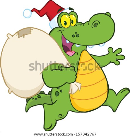 Crocodile Santa Cartoon Mascot Character Running With Bag - stock vector