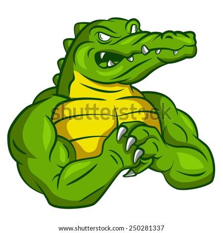 Crocodile Strong Mascot - stock vector
