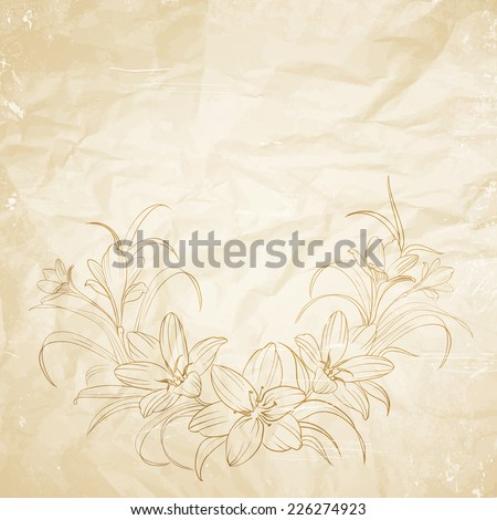 Crocus flowers pencil drawn on the old paper. Vector illustration. - stock vector
