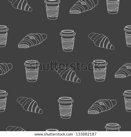 Croissant and coffee seamless pattern. Black and white vector illustration - stock vector