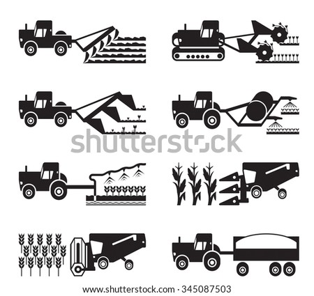 Crop growing and harvesting of agriculture - vector illustration - stock vector