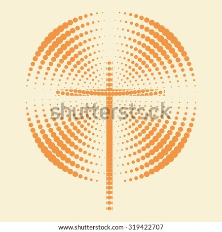Cross and radiating dots - stock vector