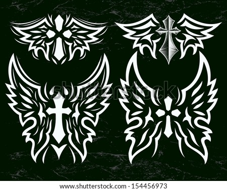 Cross and Wings vector set - Stylized cross and angel wings - Grunge effects can be easily removed - stock vector