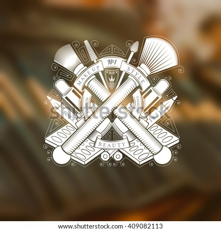 Cross brushes joined by ribbon and other type of equipment and cosmetics behind. Silhouette label on blurred photo of brush for eye shadow - stock vector