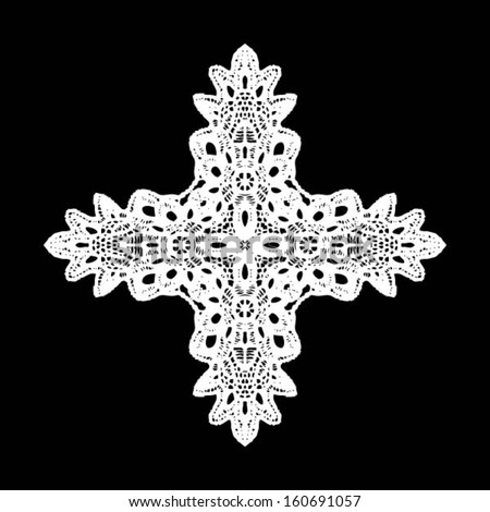 Cross doily / lace pattern, seamless background, hand made wedding decor, design element, vector illustration - stock vector